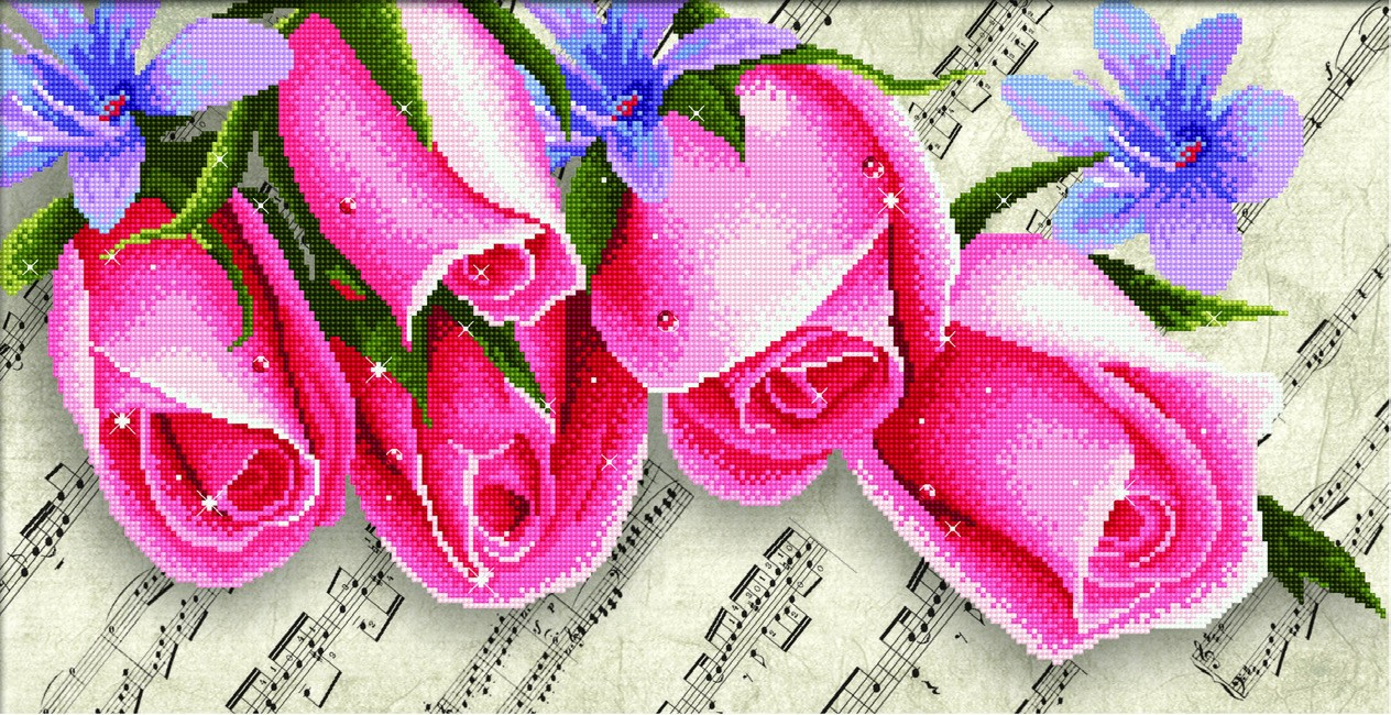 # P650.010 Pink Roses & Music
