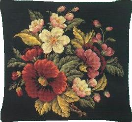 Needlepoint Floral Coussin 40 x 40 cm