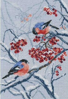 RTO # 578, Bullfinches in Rowanberries