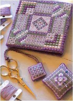 Canvas work Keepsakes Needlebook and Pincushion