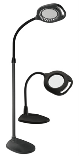 Ott-Lite 2 in 1 LED Mag Floor & Table Lamp, Black